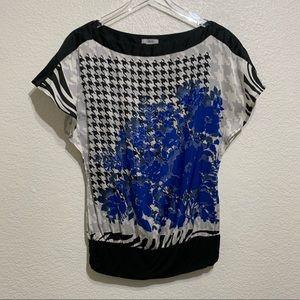 🌻Cache Split Sleeve Floral Print Top Gathered Hem